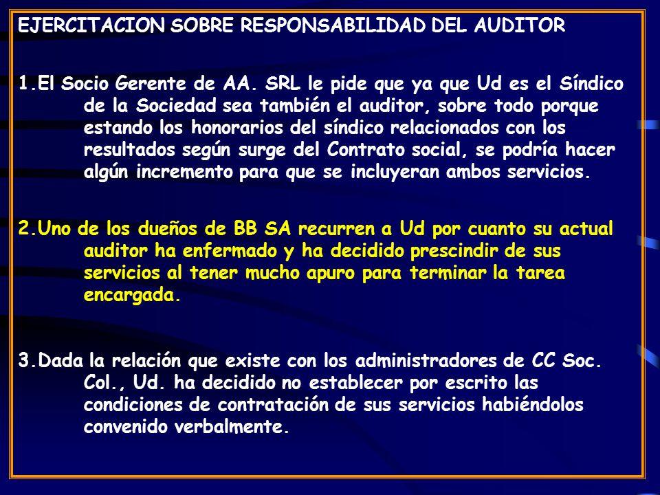 EJERCITACION SOBRE RESPONSABILIDAD DEL AUDITOR