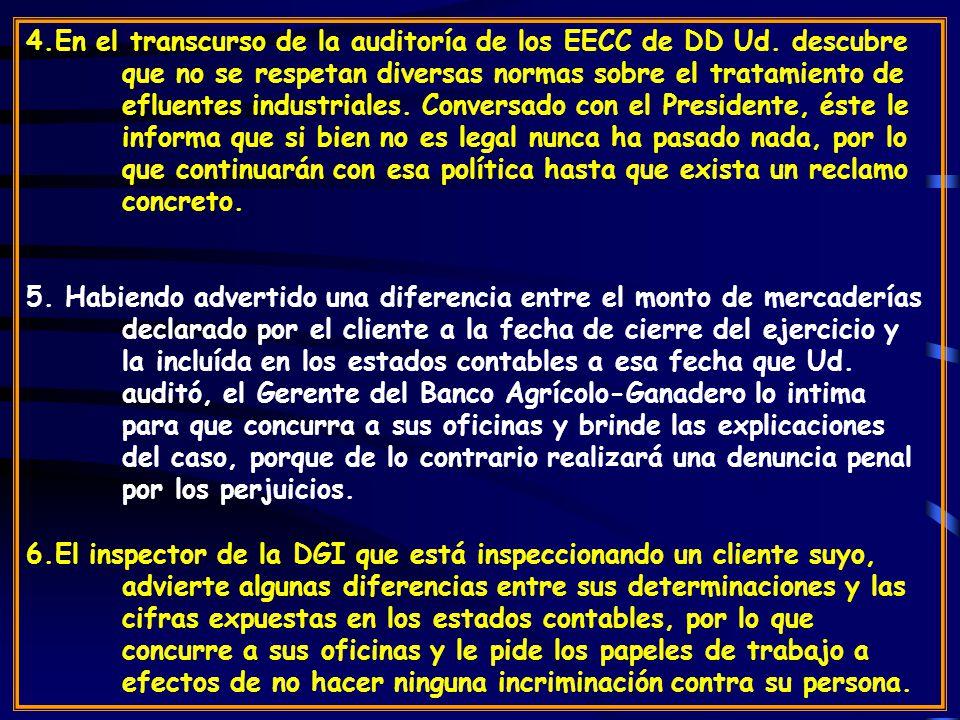 4. En el transcurso de la auditoría de los EECC de DD Ud. descubre