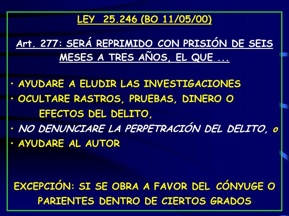 LEY 25.246 (BO 11/05/00) Art. 277: SERÁ REPRIMIDO CON PRISIÓN DE SEIS MESES A TRES AÑOS, EL QUE ...