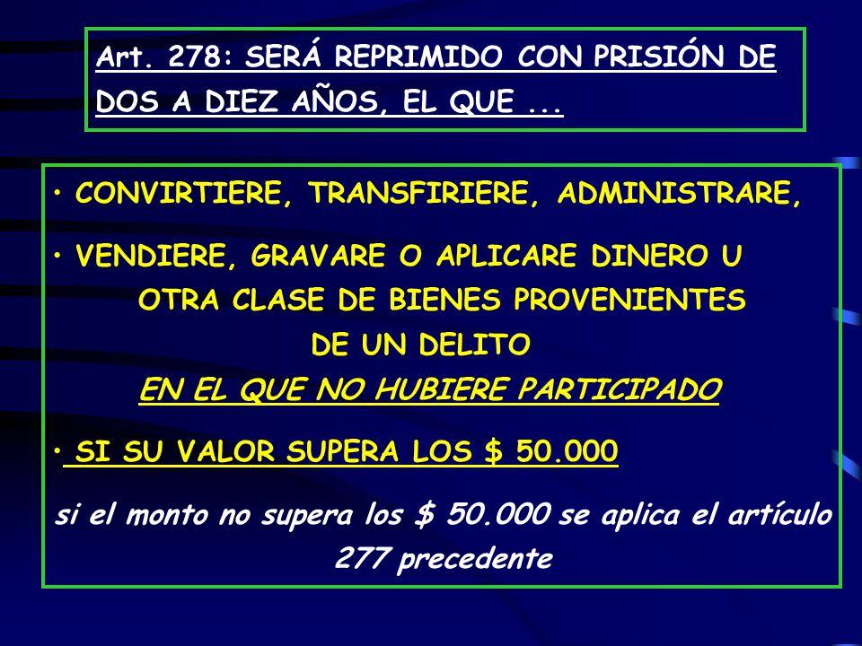 Art. 278: SERÁ REPRIMIDO CON PRISIÓN DE DOS A DIEZ AÑOS, EL QUE ...