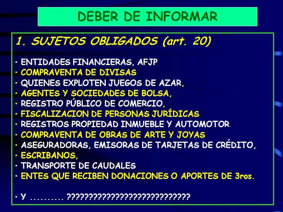 DEBER DE INFORMAR 1. SUJETOS OBLIGADOS (art. 20)