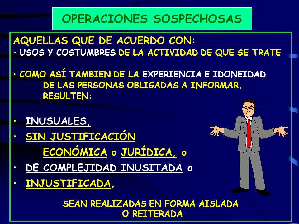 OPERACIONES SOSPECHOSAS SEAN REALIZADAS EN FORMA AISLADA
