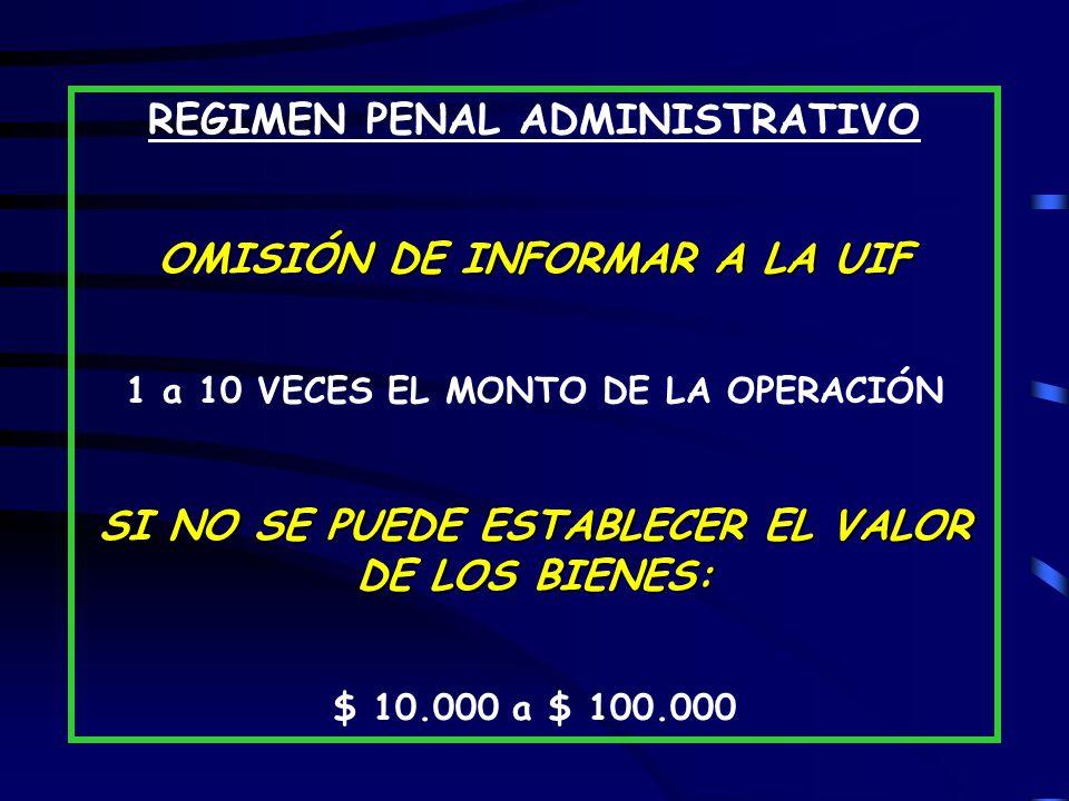 REGIMEN PENAL ADMINISTRATIVO OMISIÓN DE INFORMAR A LA UIF