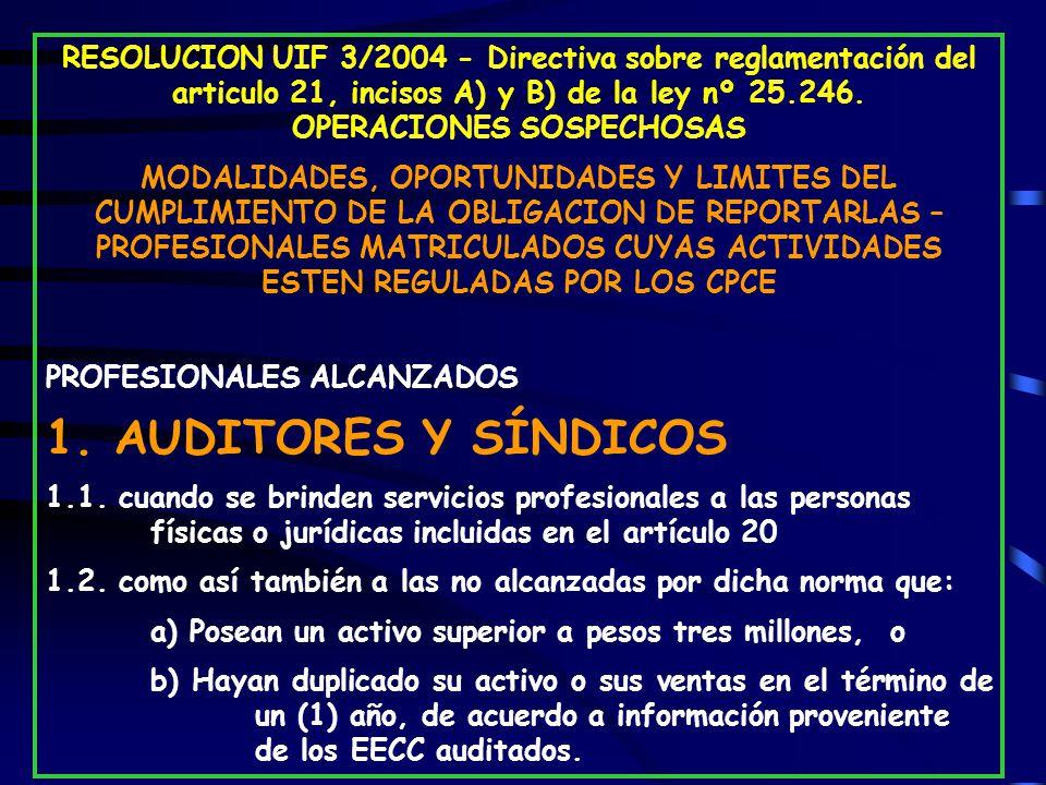 RESOLUCION UIF 3/2004 - Directiva sobre reglamentación del articulo 21, incisos A) y B) de la ley nº 25.246. OPERACIONES SOSPECHOSAS