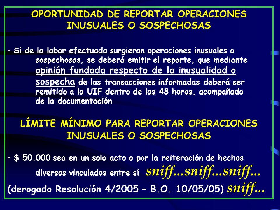 OPORTUNIDAD DE REPORTAR OPERACIONES INUSUALES O SOSPECHOSAS