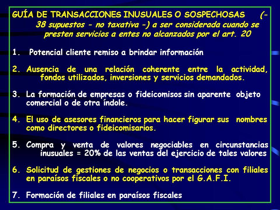 GUÍA DE TRANSACCIONES INUSUALES O SOSPECHOSAS (- 38 supuestos - no taxativa -) a ser considerada cuando se presten servicios a entes no alcanzados por el art. 20