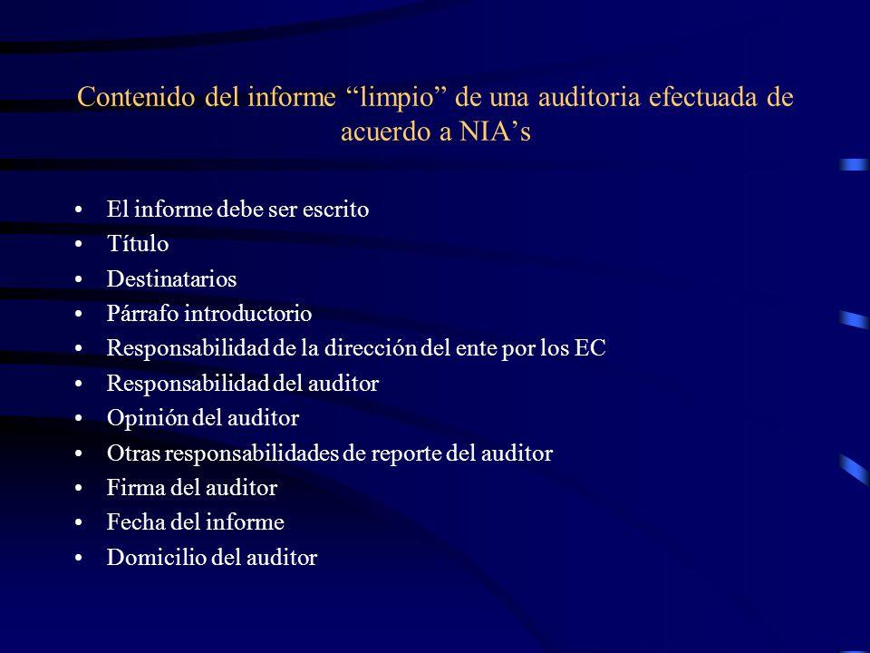 Contenido del informe limpio de una auditoria efectuada de acuerdo a NIA's