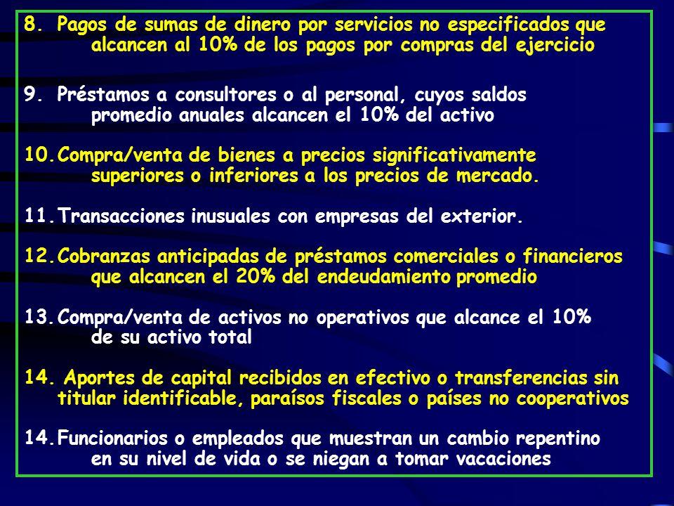 8. Pagos de sumas de dinero por servicios no especificados que