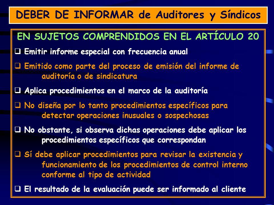 DEBER DE INFORMAR de Auditores y Síndicos