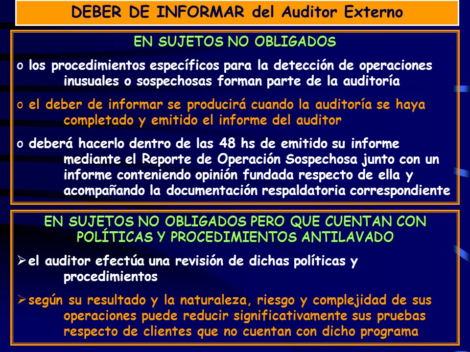 DEBER DE INFORMAR del Auditor Externo EN SUJETOS NO OBLIGADOS