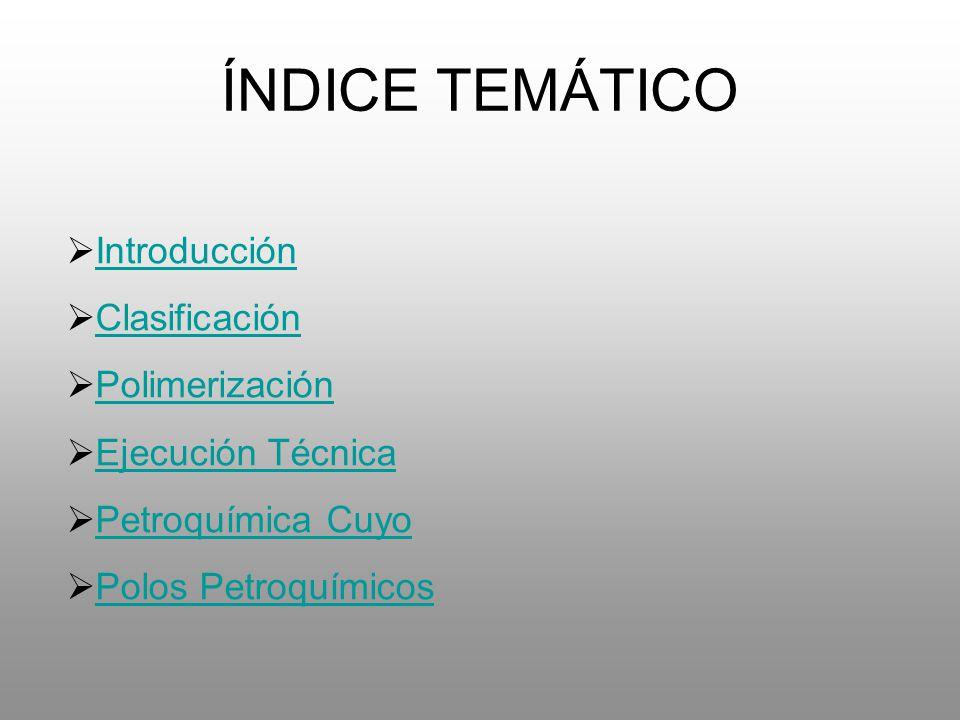 ÍNDICE TEMÁTICO Introducción Clasificación Polimerización