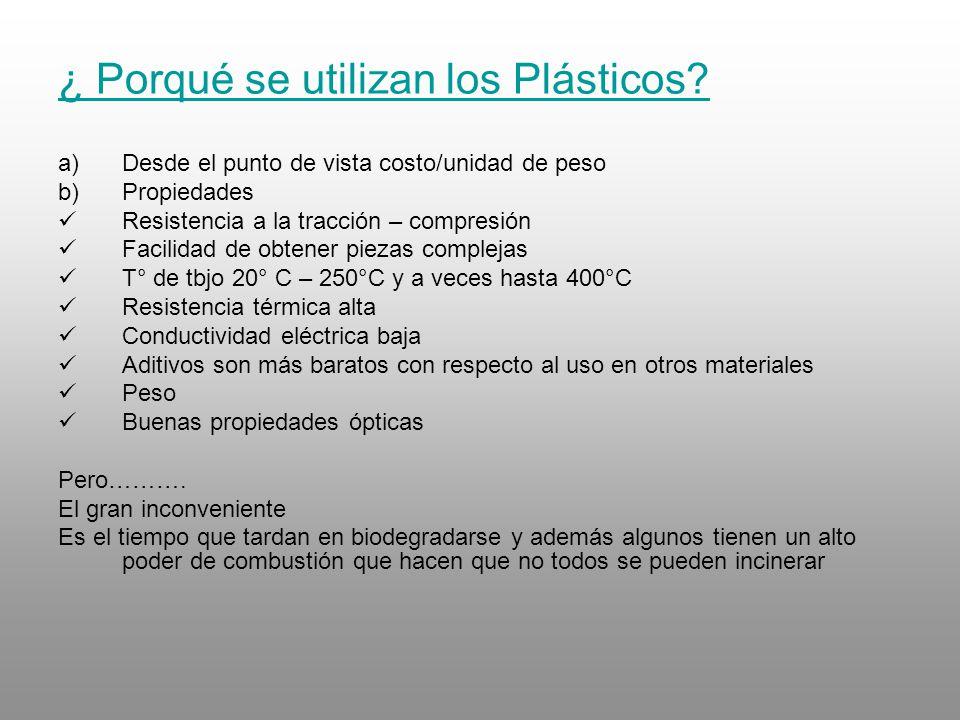 ¿ Porqué se utilizan los Plásticos
