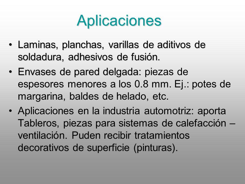 Aplicaciones Laminas, planchas, varillas de aditivos de soldadura, adhesivos de fusión.