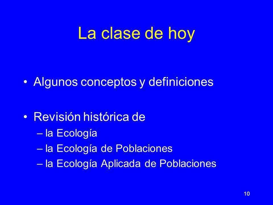 La clase de hoy Algunos conceptos y definiciones Revisión histórica de