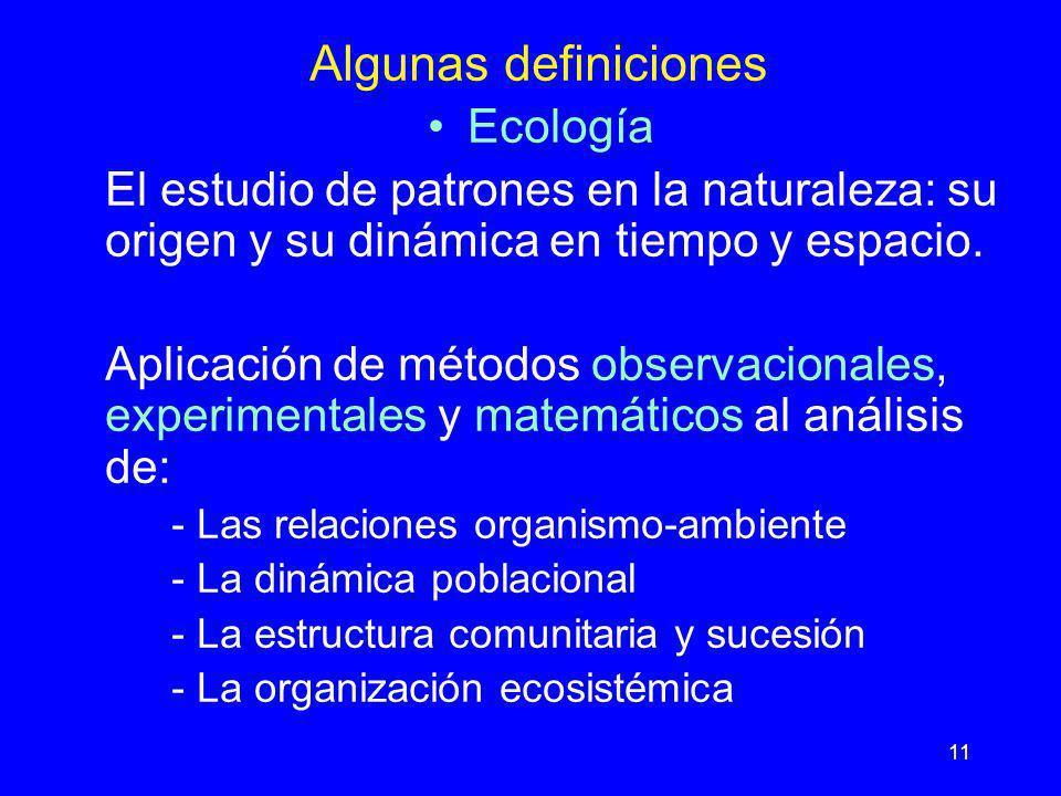 Algunas definiciones Ecología