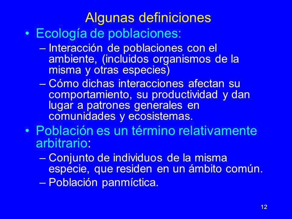 Algunas definiciones Ecología de poblaciones: