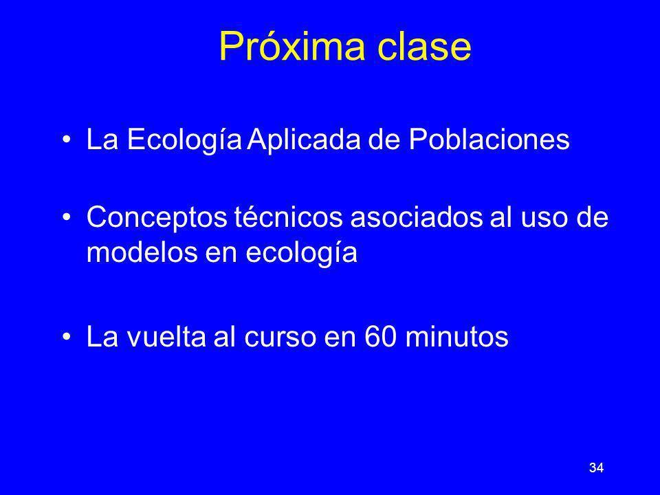 Próxima clase La Ecología Aplicada de Poblaciones