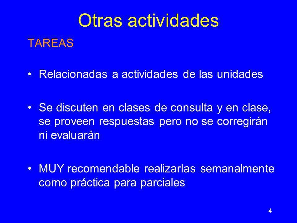 Otras actividades TAREAS Relacionadas a actividades de las unidades