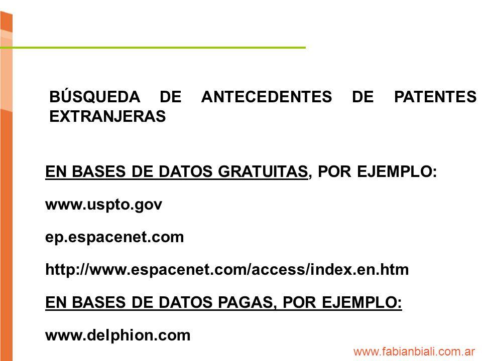 BÚSQUEDA DE ANTECEDENTES DE PATENTES EXTRANJERAS