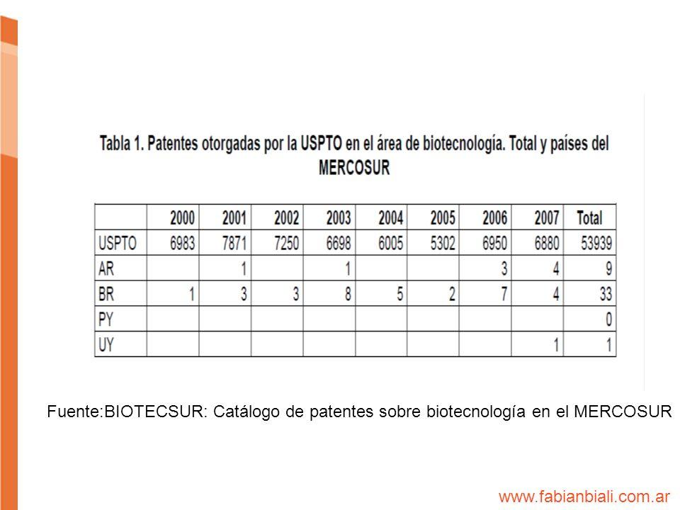 Fuente:BIOTECSUR: Catálogo de patentes sobre biotecnología en el MERCOSUR