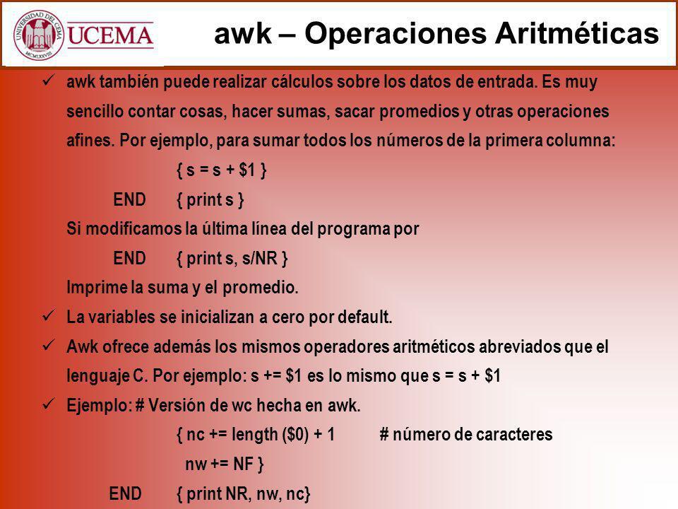 awk – Operaciones Aritméticas