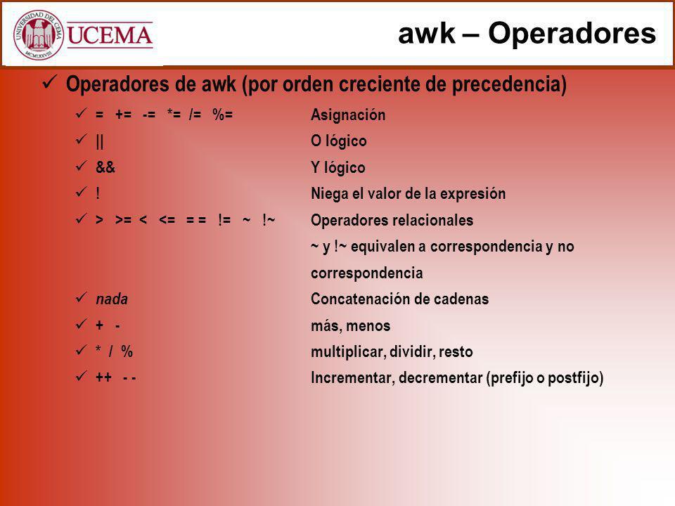 awk – Operadores Operadores de awk (por orden creciente de precedencia) = += -= *= /= %= Asignación.