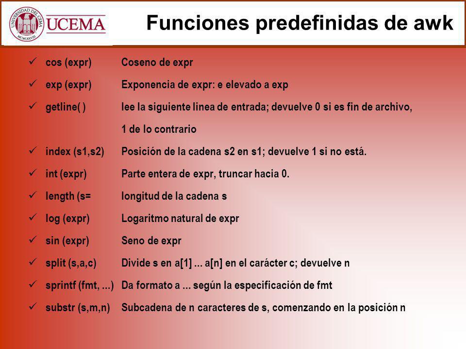 Funciones predefinidas de awk