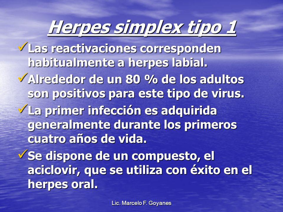 Herpes simplex tipo 1 Las reactivaciones corresponden habitualmente a herpes labial.