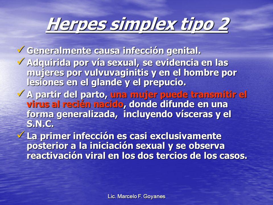Herpes simplex tipo 2 Generalmente causa infección genital.