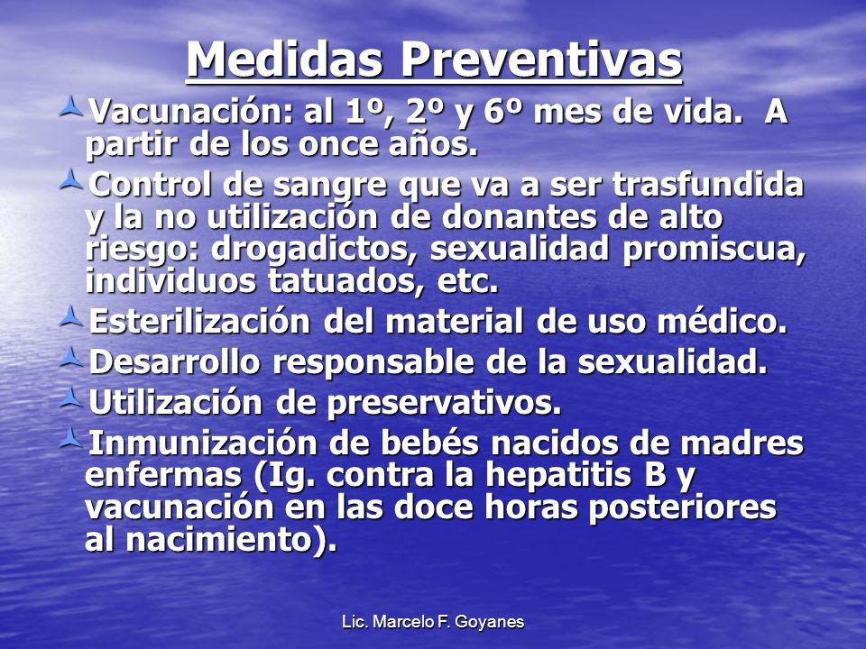 Medidas Preventivas Vacunación: al 1º, 2º y 6º mes de vida. A partir de los once años.