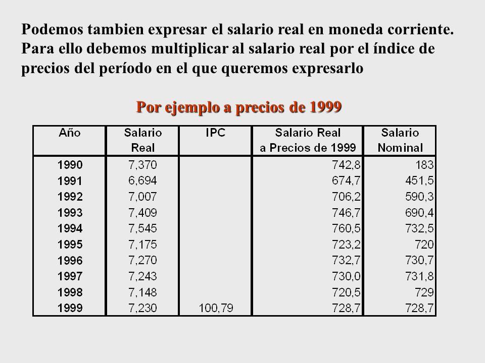 Por ejemplo a precios de 1999
