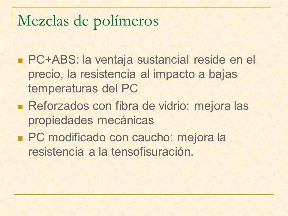 Mezclas de polímeros PC+ABS: la ventaja sustancial reside en el precio, la resistencia al impacto a bajas temperaturas del PC.