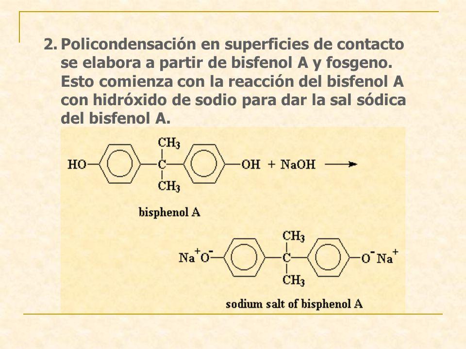Policondensación en superficies de contacto se elabora a partir de bisfenol A y fosgeno.