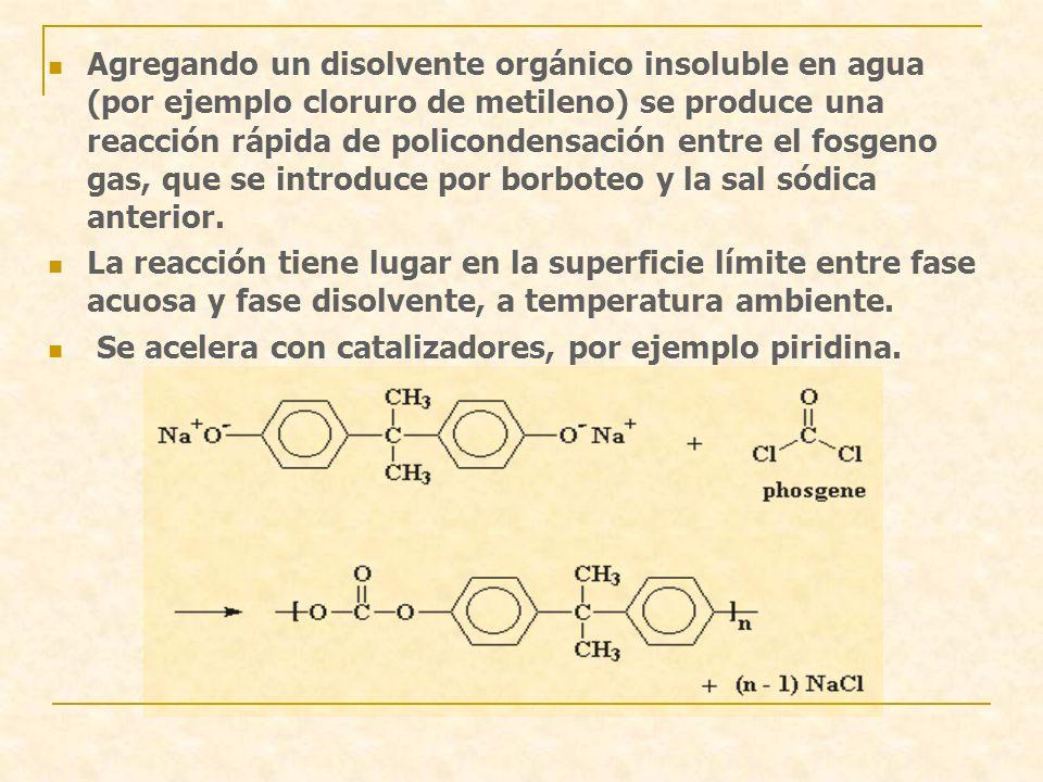 Agregando un disolvente orgánico insoluble en agua (por ejemplo cloruro de metileno) se produce una reacción rápida de policondensación entre el fosgeno gas, que se introduce por borboteo y la sal sódica anterior.