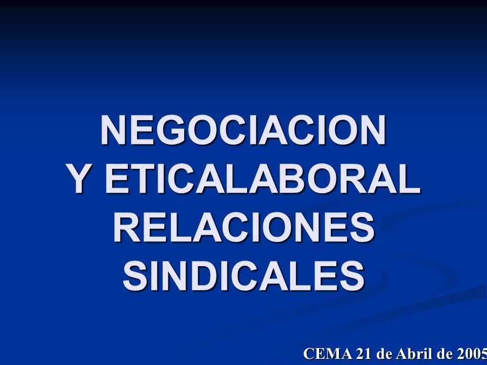 NEGOCIACION Y ETICALABORAL RELACIONES SINDICALES