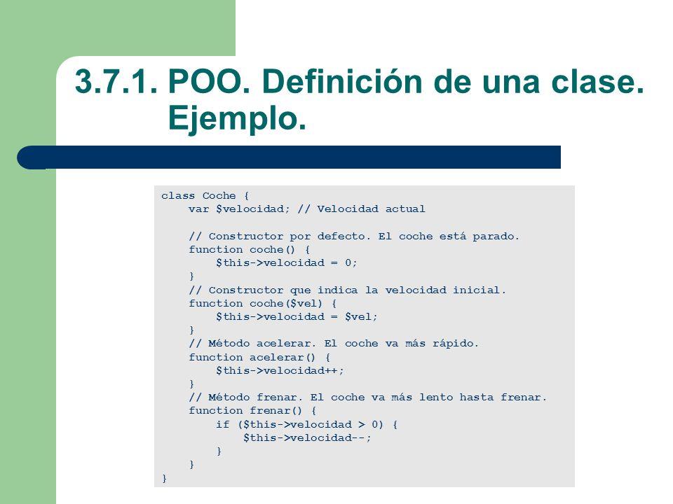 3.7.1. POO. Definición de una clase. Ejemplo.