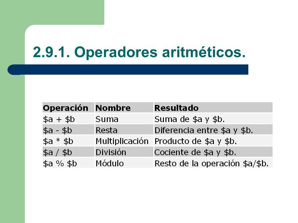 2.9.1. Operadores aritméticos.