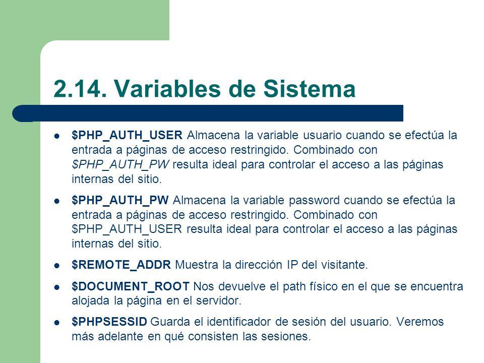 2.14. Variables de Sistema