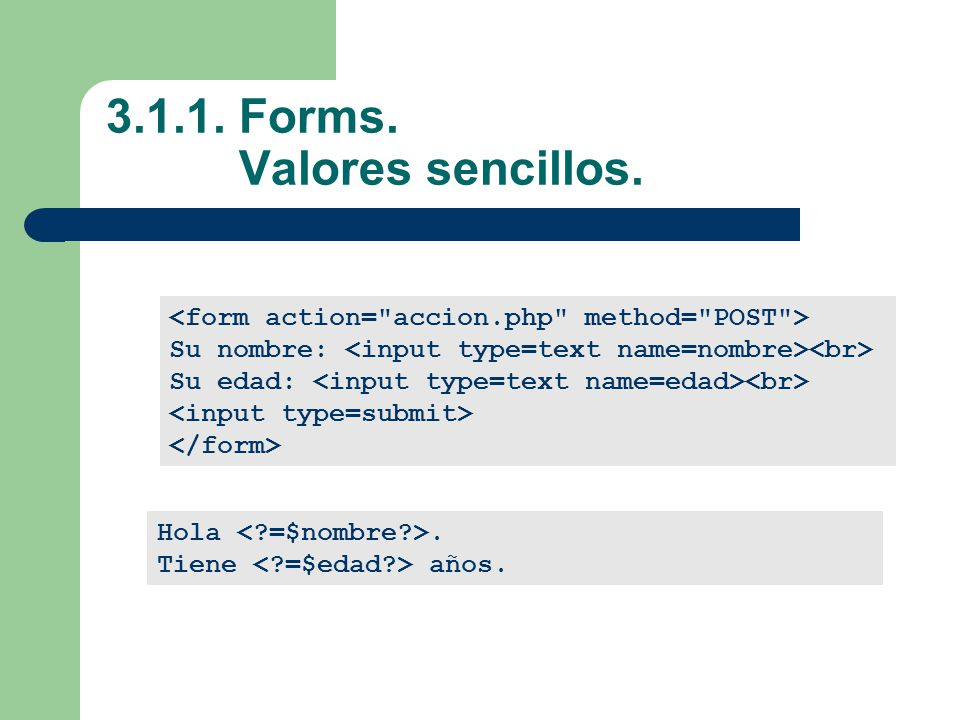 3.1.1. Forms. Valores sencillos.