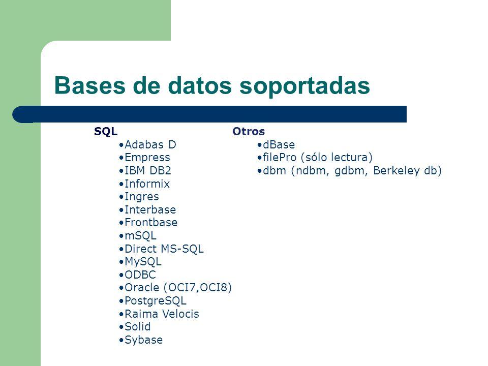 Bases de datos soportadas