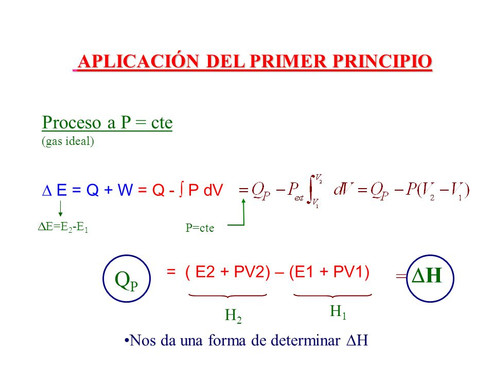QP APLICACIÓN DEL PRIMER PRINCIPIO Proceso a P = cte = H v