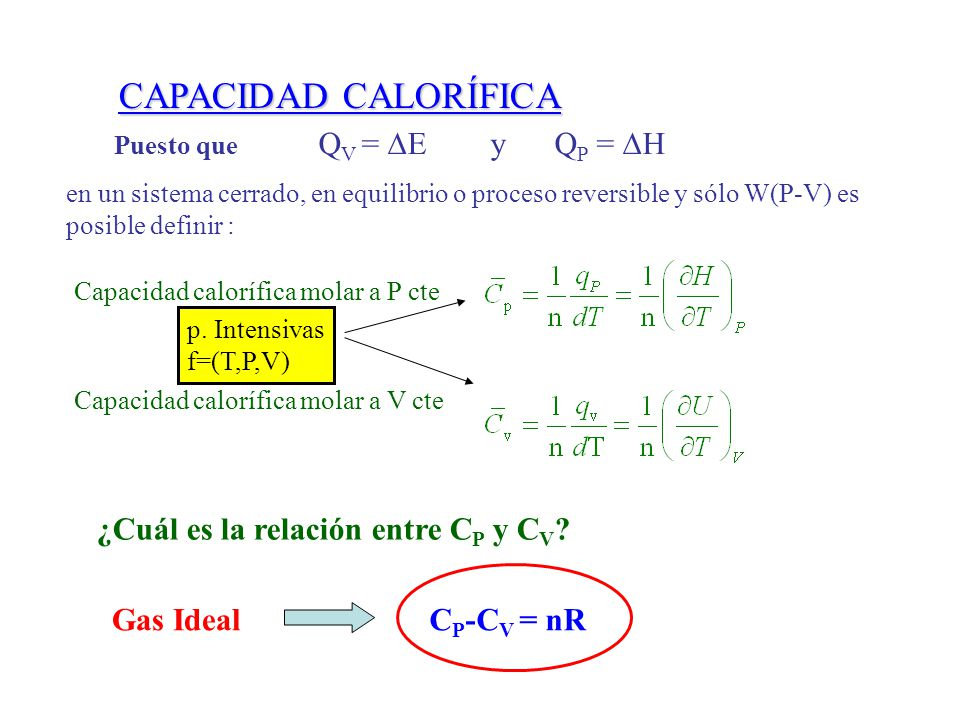 CAPACIDAD CALORÍFICA ¿Cuál es la relación entre CP y CV Gas Ideal