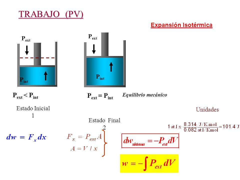 TRABAJO (PV) Pext < Pint Pext = Pint Expansión Isotérmica Pext Pext
