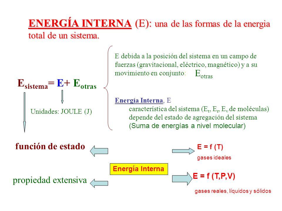 ENERGÍA INTERNA (E): una de las formas de la energia total de un sistema.