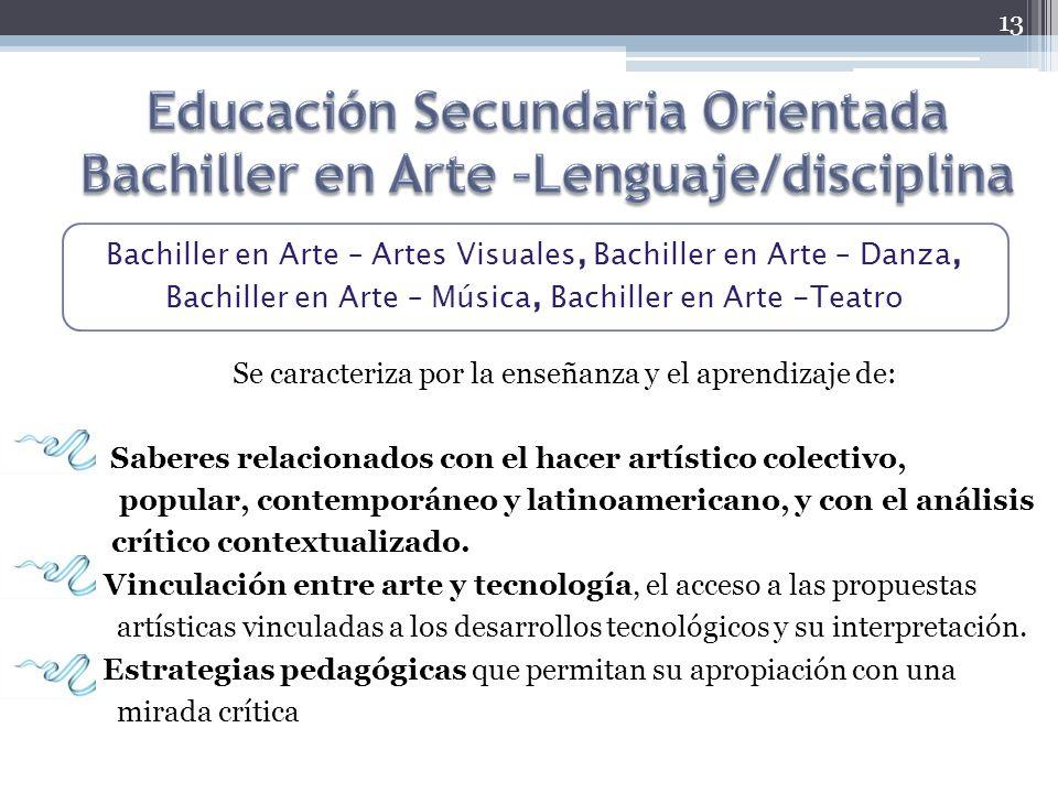 Educación Secundaria Orientada Bachiller en Arte –Lenguaje/disciplina
