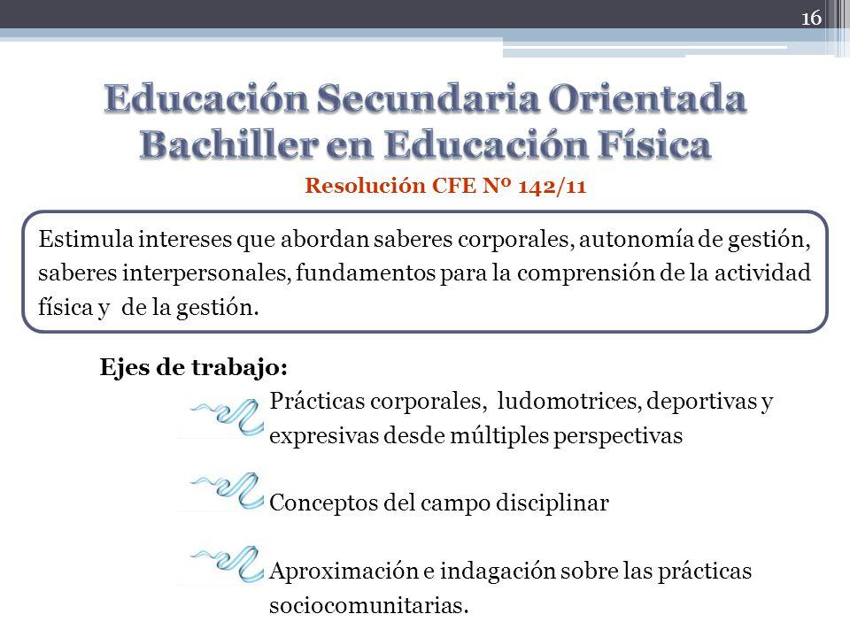 Educación Secundaria Orientada Bachiller en Educación Física