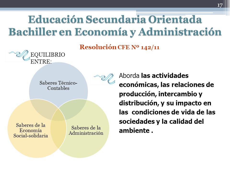 Educación Secundaria Orientada Bachiller en Economía y Administración