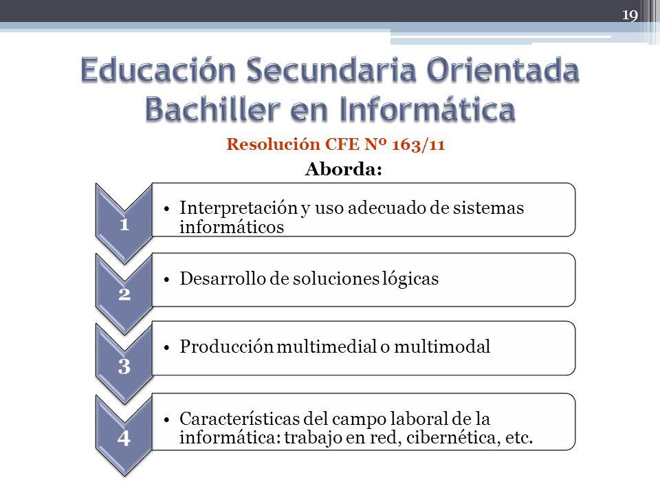 Educación Secundaria Orientada Bachiller en Informática