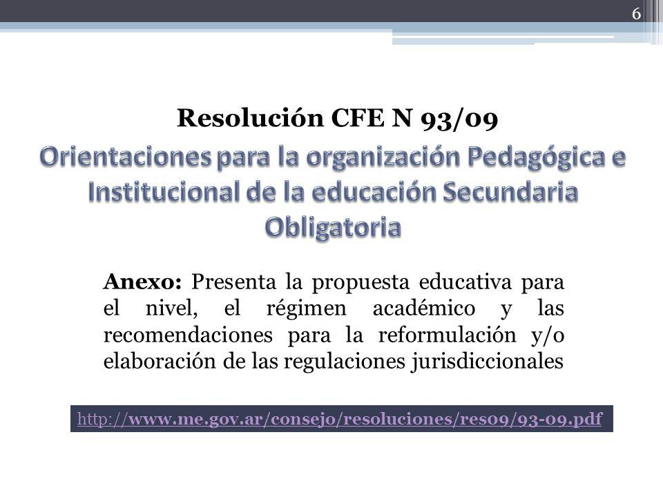 Resolución CFE N 93/09 Orientaciones para la organización Pedagógica e Institucional de la educación Secundaria Obligatoria.