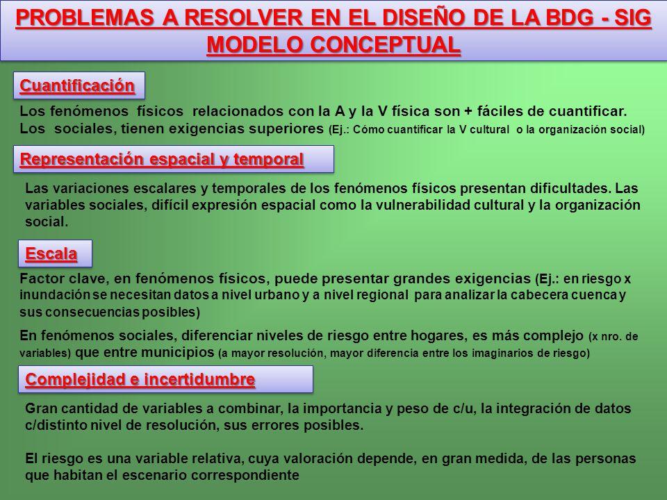 PROBLEMAS A RESOLVER EN EL DISEÑO DE LA BDG - SIG MODELO CONCEPTUAL